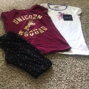 Gently Used Girls Tee & Legging Size 10/12 Lot